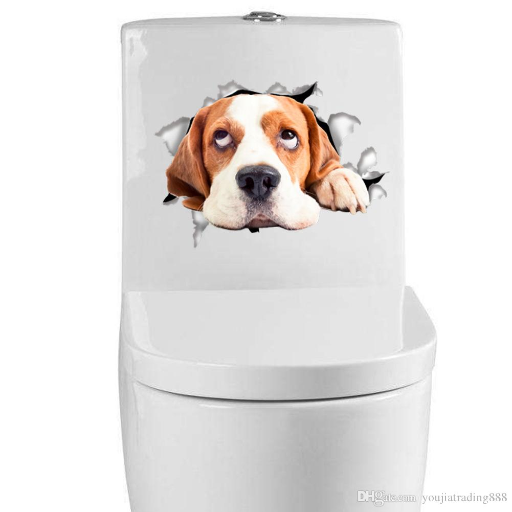 2018 7 Styles 3d Puppy Dog Toilet Stickers Hole View Vivid Cats Stickers  Animal Pvc Vinyl Bathroom Decals Wall Art Sticker Room Decoration From ...