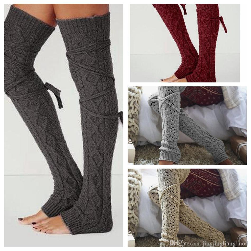 2018 Women Winter Warm Cable Knitted Long Boot Socks Over ...