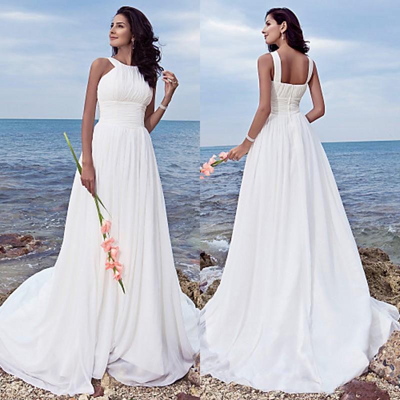 Plus Size Empire Waist Wedding Dress: Discount Plus Size Beach Wedding Dresses Halter Neck