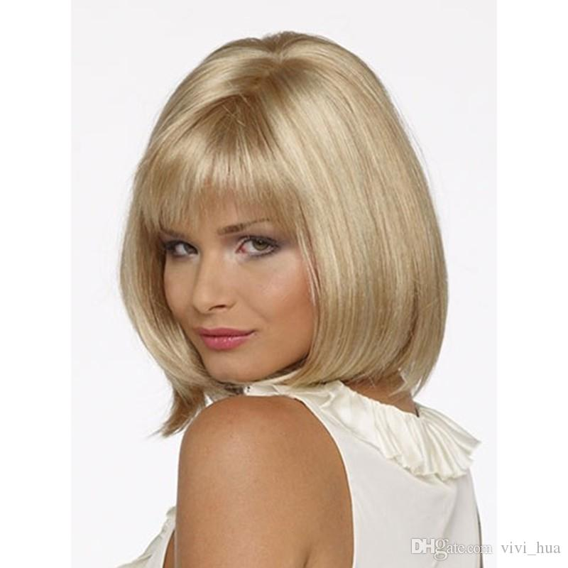 Popular Blonde hair Straight Short Bob Wig With Bangs For Women Synthetic High Heat Fiber Wigs Full Lace Wig Senior Silk Mix Length