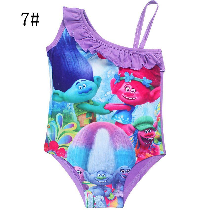 Wholesale 10 styles baby girls swimwear cartoon Trolls children one-piece bath suit kids swimming suit girl's summer beach clothes