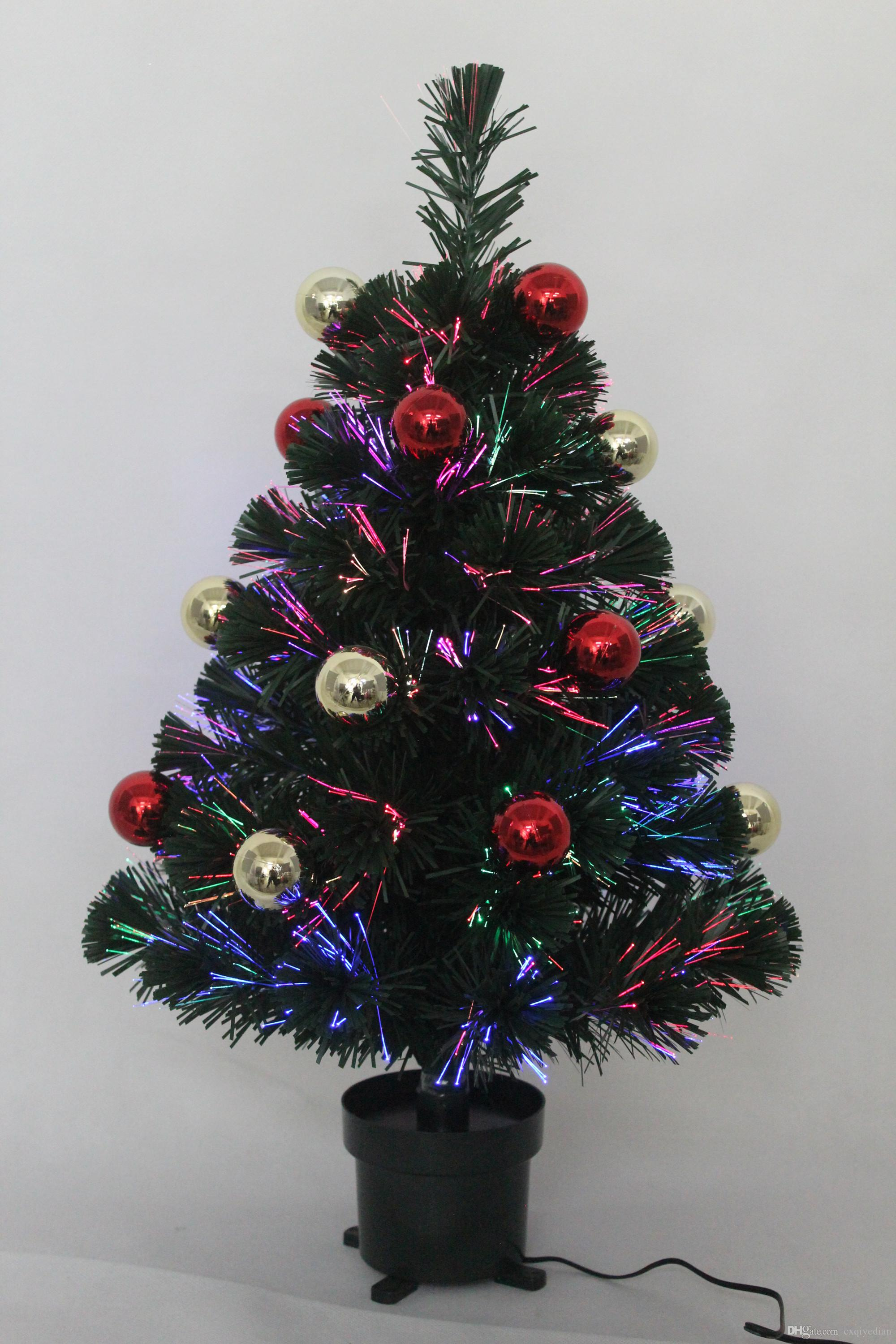 2ft mini green fibre optic artificial decorative shiny baubles christmas tree indoor use 3 x aa battery or usb operated newest christmas decorations old - Mini Fiber Optic Christmas Tree