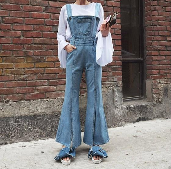3b2cae1522b5 Wholesale- Women High Waist Flare Jeans Trouser Women s Bib Overalls Pants  Suspenders Jeans Jumpsuit Wide Leg Side Open