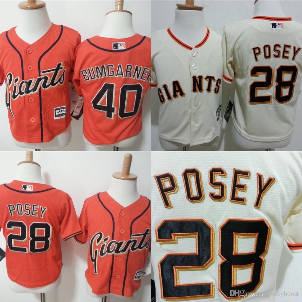 7b19959dc ... 2017 28 Buster Posey Jersey Toddler San Francisco Giants 40 Madison  Bumgarner Orange Beige Stitched Baby ...