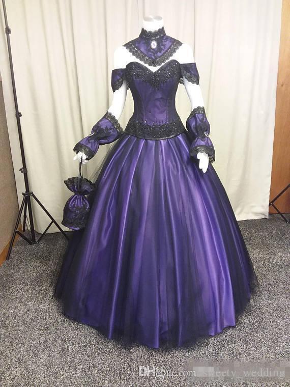 Noir Violet Robes De Mariée Gothiques 2019 Vintage Plus La Taille Steampunk Victorian Halloween Vampire Pays Jardin Robes De Mariage avec Choak