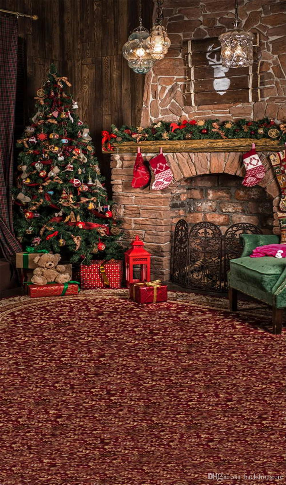 2017 vintage carpet photography backdrops brick fireplace decorated christmas tree toy bear gift boxes crystal lanterns kids photo background from - Bear Christmas Tree