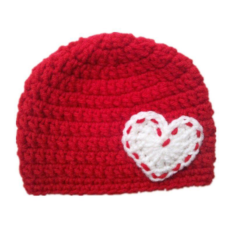 Adorable Valentine Day Hat,Handmade Knit Crochet Baby Boy Girl Red Beanie Hat,White Heart,Newborn Winter Hat,Infant Toddler Photo Prop