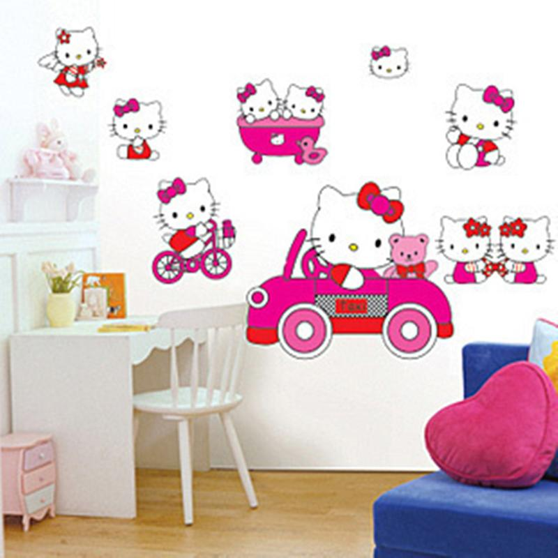 Cool childrenus room wall stickers removable hello kitty for Chambre hello kitty