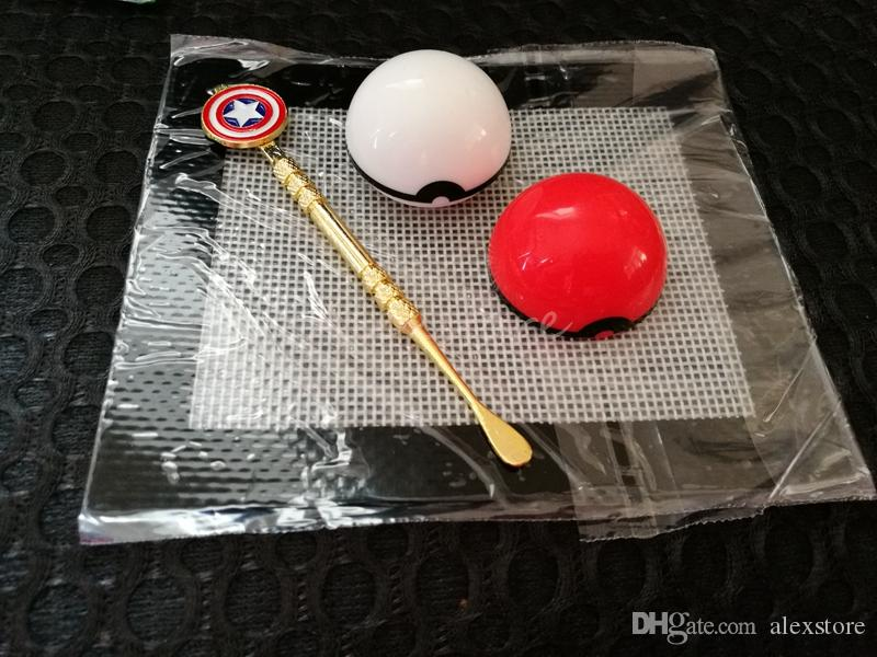 Silicone Wax Kit Set with sheets pads mats 6ml pokeball silicon container gold Captain America ceramic dabber tool for dry herb jars dab