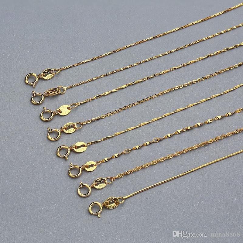 925 Sterling Silver necklace 1MM water wave Chain Super Thin Strong 16' 18' Chain Necklace wholesale