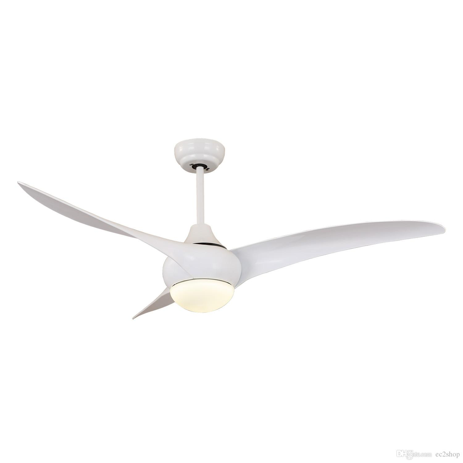 Modern White Ceiling Fan With Light And Remote Control Ac Dc 48 52