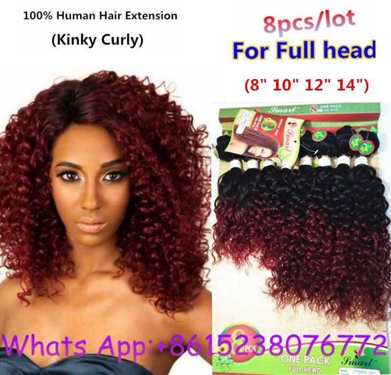 Ombre Brazilian Hair 8inch Kinky Curly Deep Wave Brazilian Hair