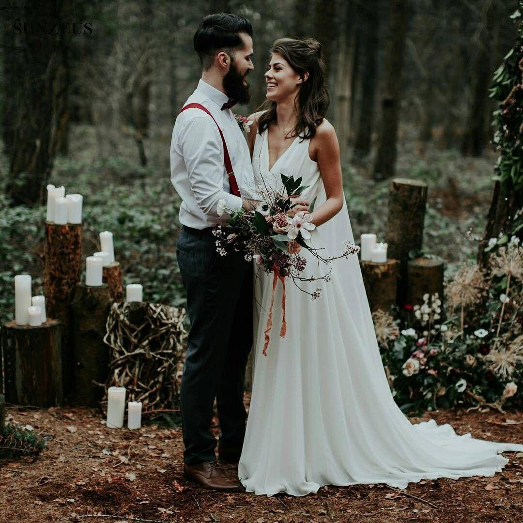 Discount New Vintage Boho Wedding Dress V Neck Tank