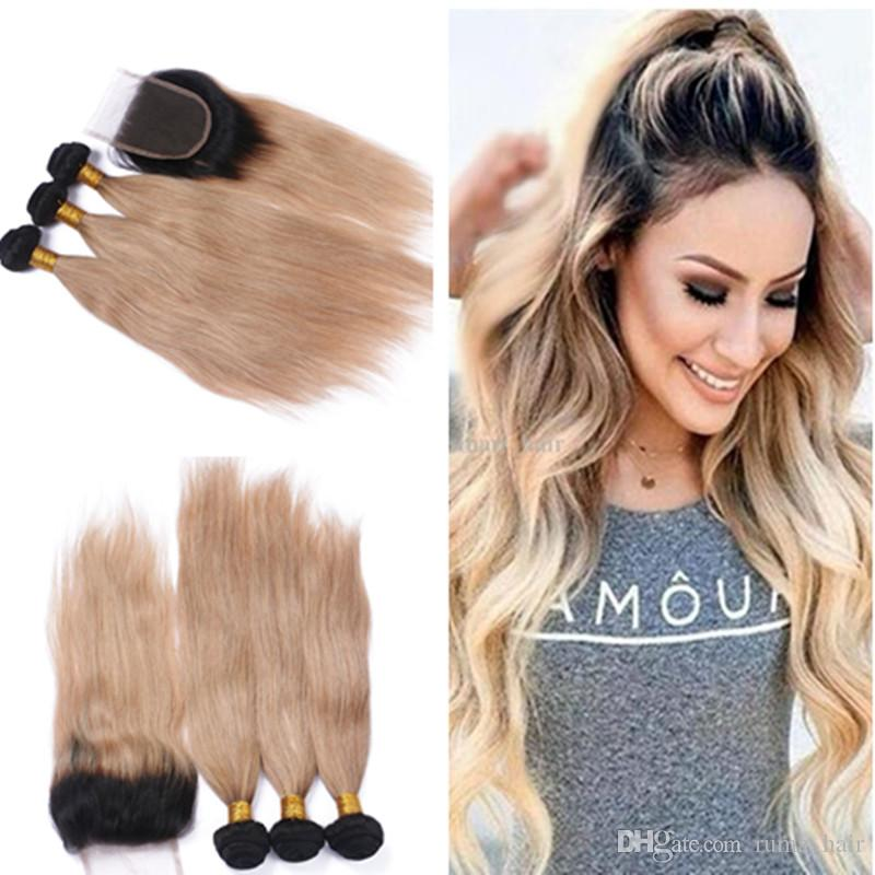 2018 Ruma Hair Honey Blonde Ombre Hair Weave Straight 1b27 Two Tone