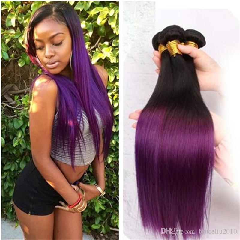 3 Bundles Brazilian Hair Purple Ombre Brazilian Hair Two Tone 1b