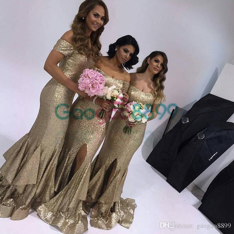 Gold Sequins ruffles slit Bridesmaid dresses 2019 Maid of honor dress Short sleeve Off the shoulder Sparkle Mermaid Wedding party dress