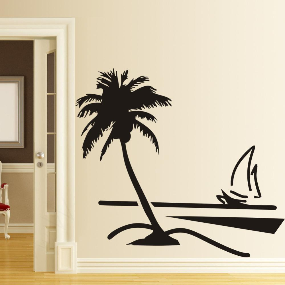 Beach Coconut Palm Tree Sailboat Wall Art Bathroom Glass Modern Art