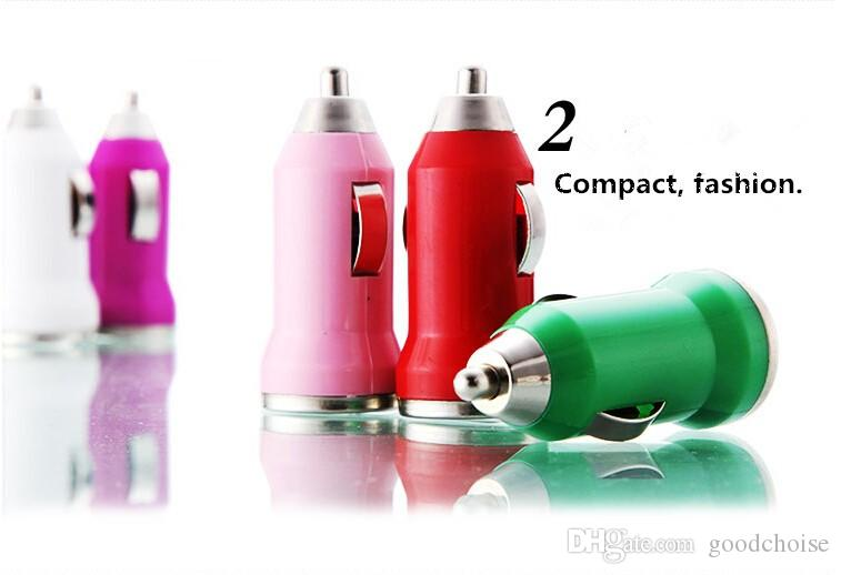 USB Car Caricabatterie Variopinto Bullet Mini Carica Portable Readvenisher Adattatore universale tutti i cellulari