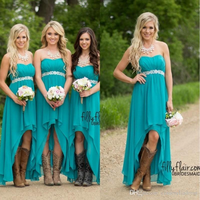 Country Bridesmaid Dresses 2018 Cheap Teal Turquoise Chiffon Sweetheart High Low Beaded With Belt Party Wedding Guest Dress Maid Honor Gowns