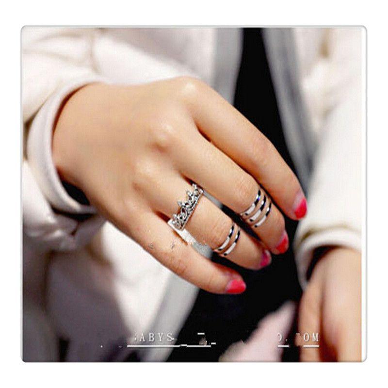 Princesa de la moda plata anillo de la corona de diamantes de imitación de la reina tamaño 7 8 9 anillos de bodas 925 anillos de la plata esterlina