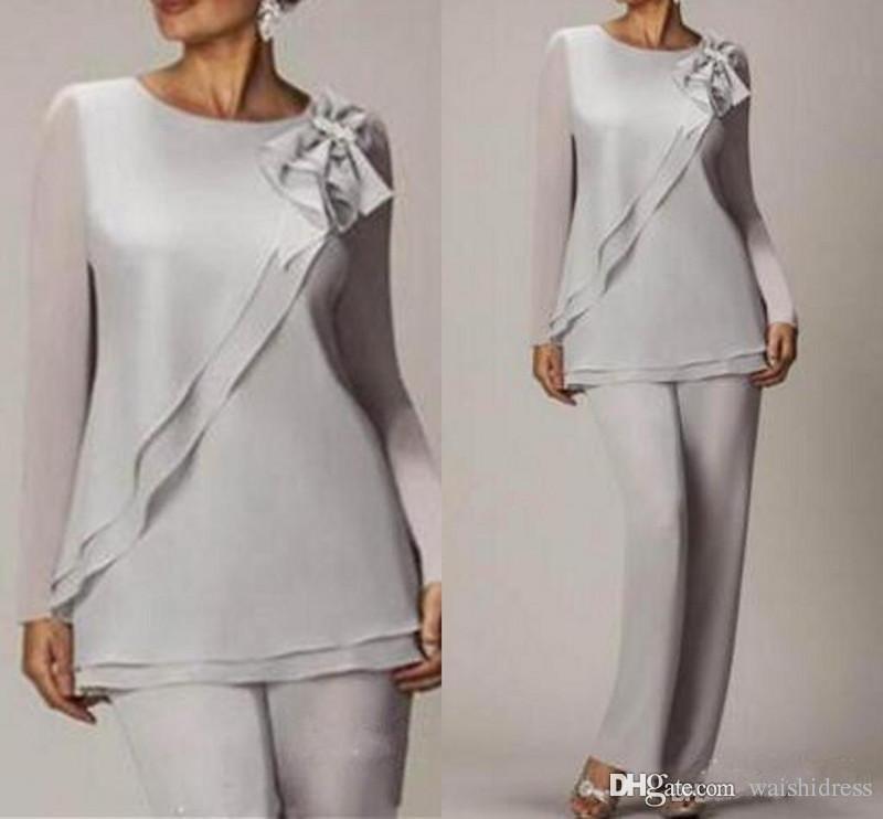 Zarif Gümüş Şifon Anne Gelin Pantolon Takım Elbise Basit Ucuz Uzun Kollu Düğün Anneler Konuk Elbise İki Adet