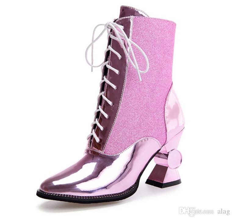 2019 mulheres botas de outono e inverno mulheres sapatos único salto alto apontou toe ankle boots lace up ouro e sliver booties NMM8