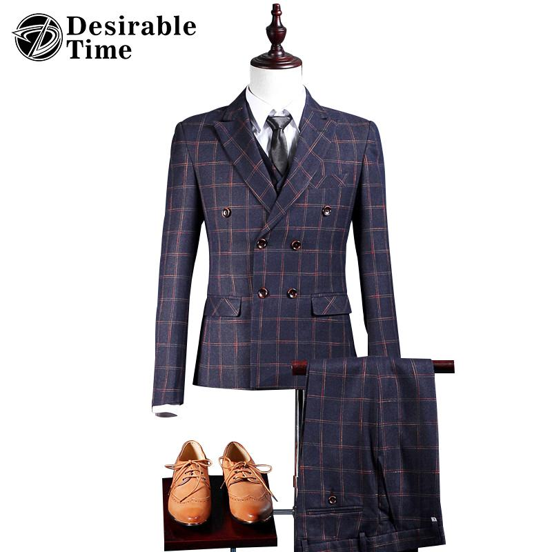 2017 Wholesale Mens Double Breasted Plaid Suit New Arrivals 2017 ...