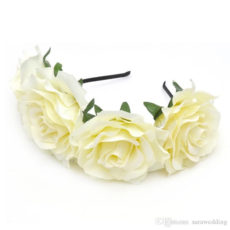 New Fashion Wedding Bridal Bridesmaid Artificial Flowers Rose Headdress Princess Wreath Jewelry 2017 For Women Pageant Prom Headdress Hair