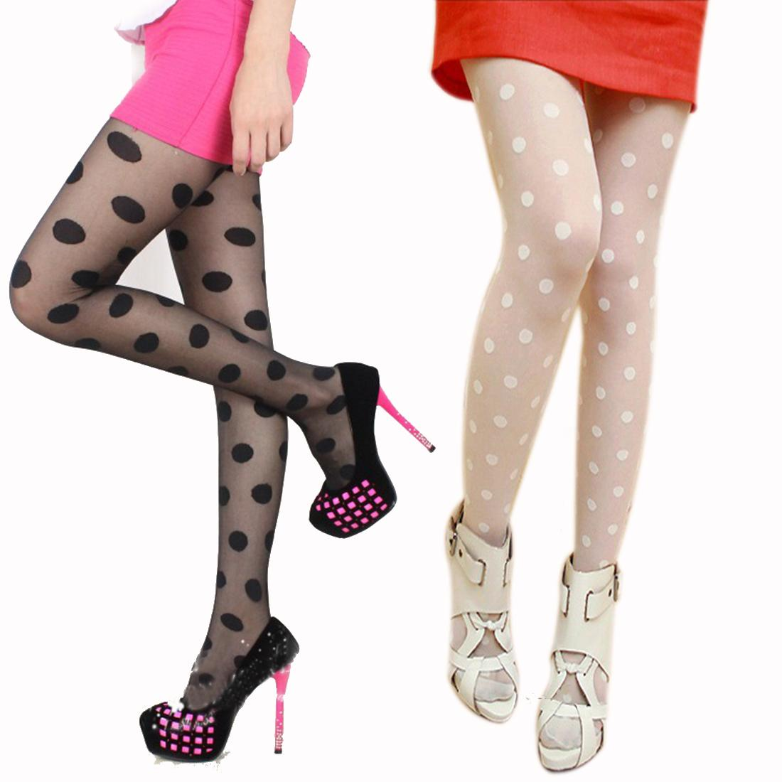 9661cbf91 2019 Wholesale Excellent Quality Fashion Black White Sexy Sheer Lace Big Dot  Shape Pantyhose Stockings Dot Slim Tights From Blueberry15