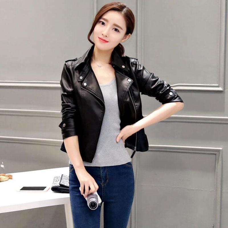 Autumn Leather Clothing Female Short Leather Coats Slim Fashion ...