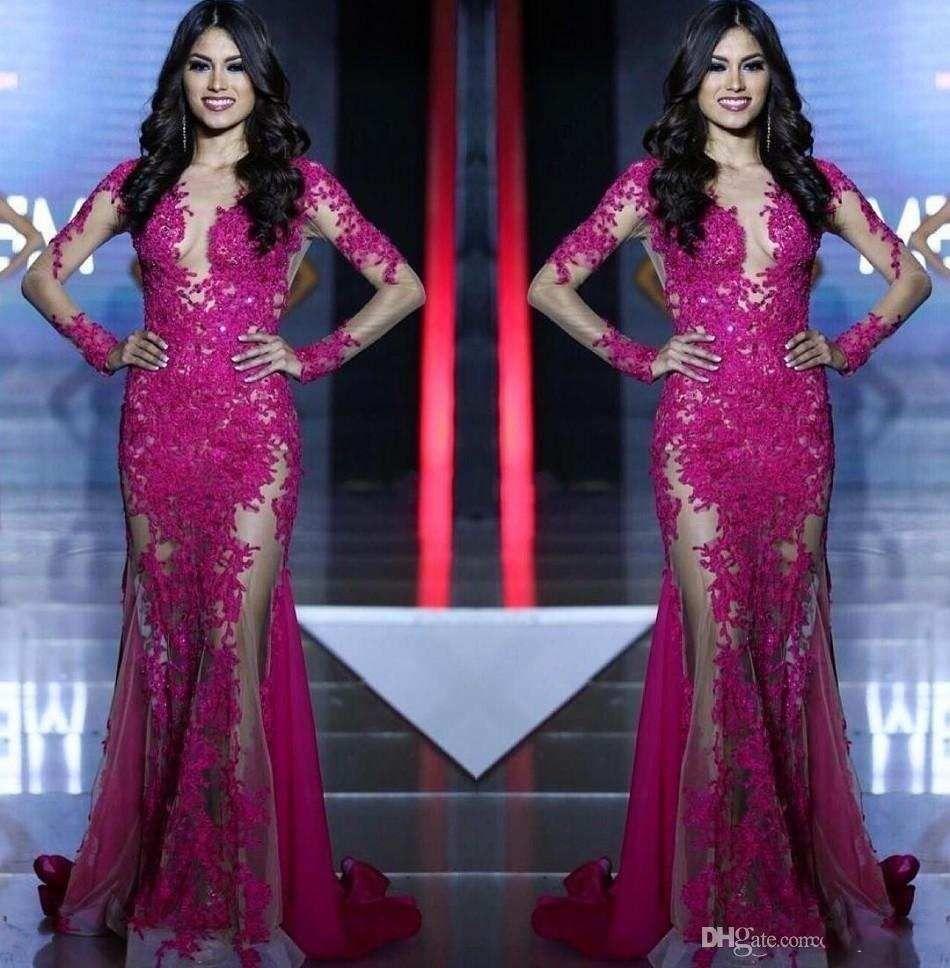 Compre 2017 Nueva Miss Mundo Prom Vestidos Largos Mangas Encaje ...