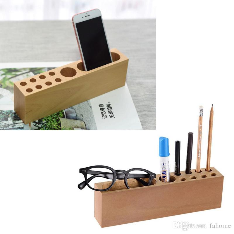Multi Function Pencil Smartphone Holder Stand Wooden Desk Organizer Office Storage Container For Pens Markers Business Cards