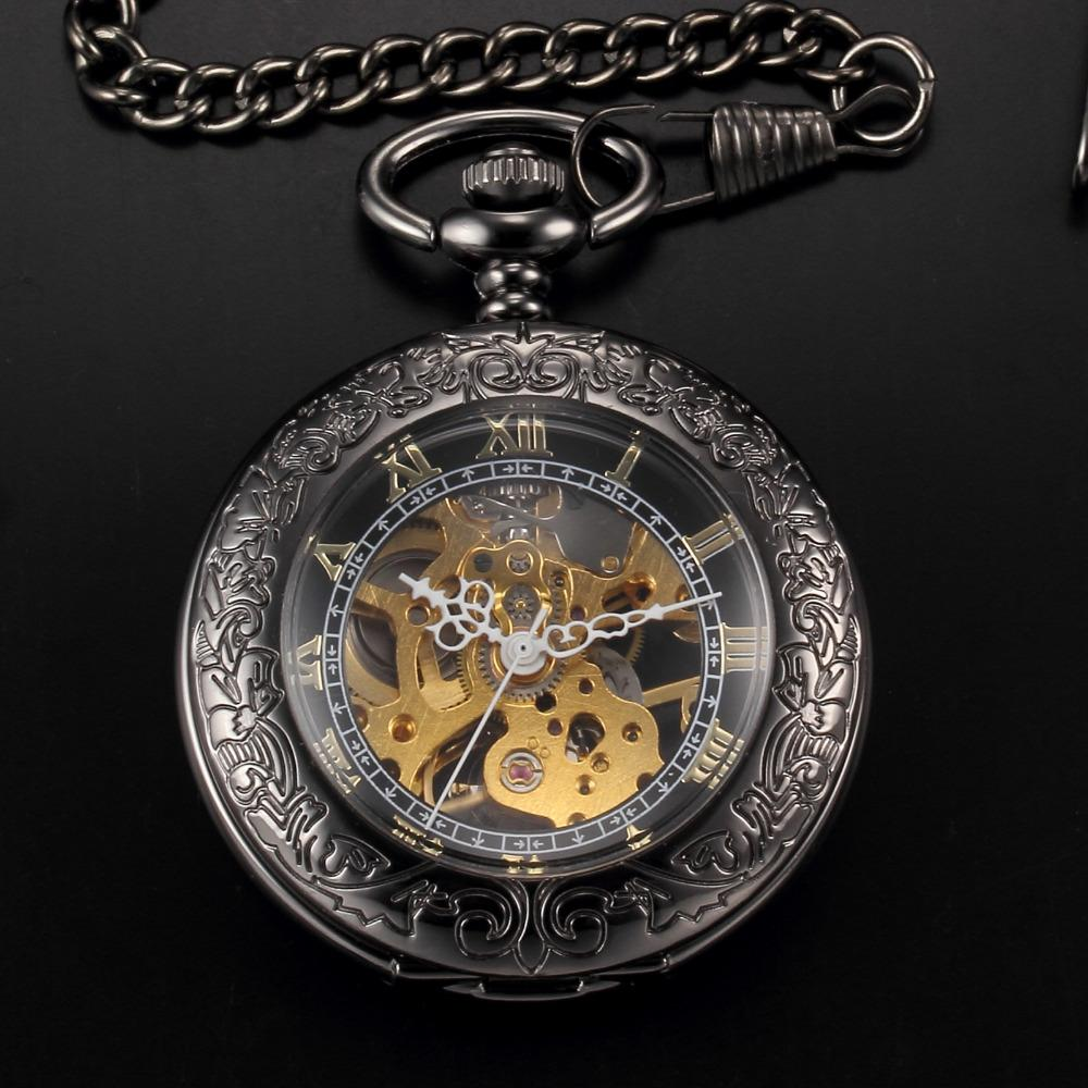 Mens pocket watches with chain images mens gold pocket watches gifts - Christmas Gifts Mens Antique Steampunk Skeleton Mechanical Pocket Watch Black Case Roman Men Watches With Chain