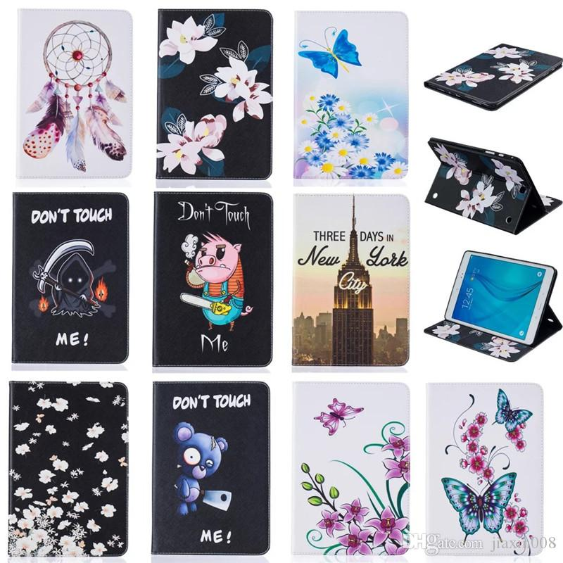 Tablet case For Samsung galaxy Tab A 9.7 inch T550 T555 Cover Wallet Stand Leather Case With Card Slots Painting Butterfly tower