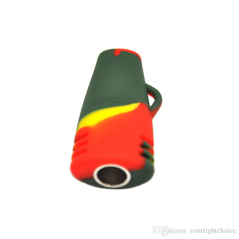 Hot Popular Multi Color Flat Head Small Portable Oil Burner Bong Silicone Smoking Pipes