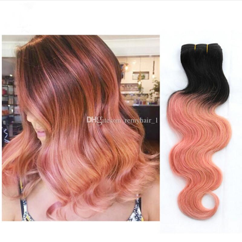 New sale 9a rose gold ombre human hair extensions two tone 1bpink 15 pmusecretfo Choice Image