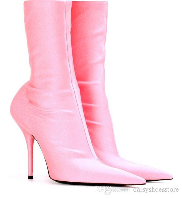 Celebrity Runway Shoes Woman Exaggerated Pointed Toe Stiletto Booties Slip On Women Sock Boot Sexy Satin High Heels Slim Stretch Ankle Boots