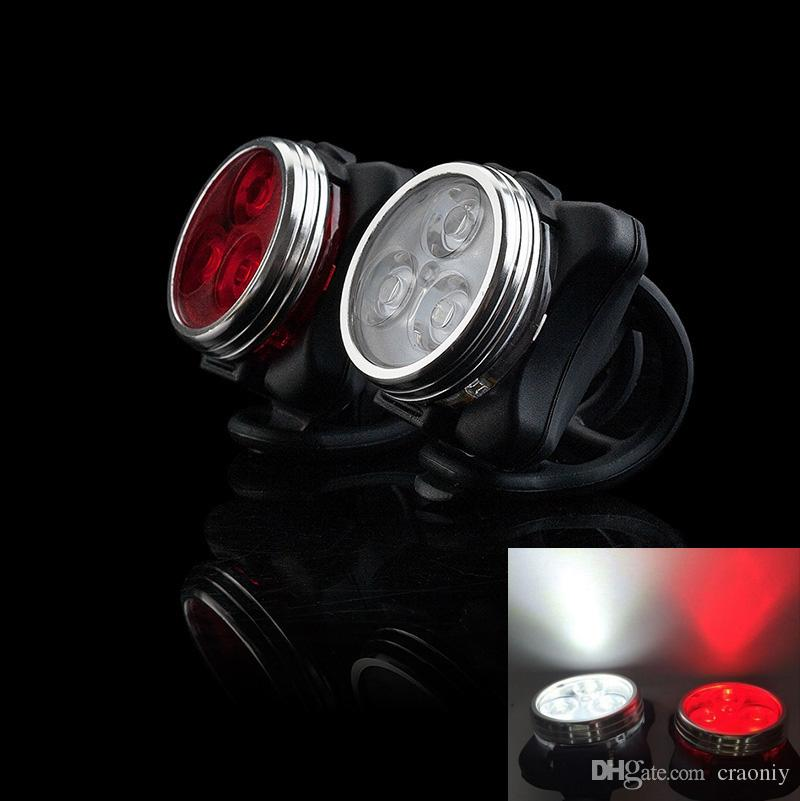 USB Rechargeable Bike Front Light Head Flash Torch + Night Rear Tail Flashlight Warning Cycling 3 LED Lamp