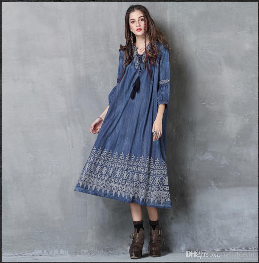 4533a62029 Blue Denim Dress Women Embroidery Lantern Pattern Ethnic Style V Neck  Design Sexy Slim Fit For Women Long Dresses Free Ship 2017 Fashion Ladies  Dresses On ...