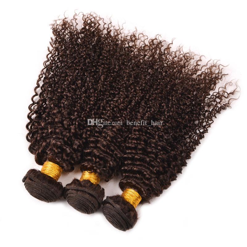 Bundles vergini malesi dei capelli umani Trama ricci crespi del ciuffo dei capelli umani Brown medio # 4 estensione dei capelli ondulati la donna