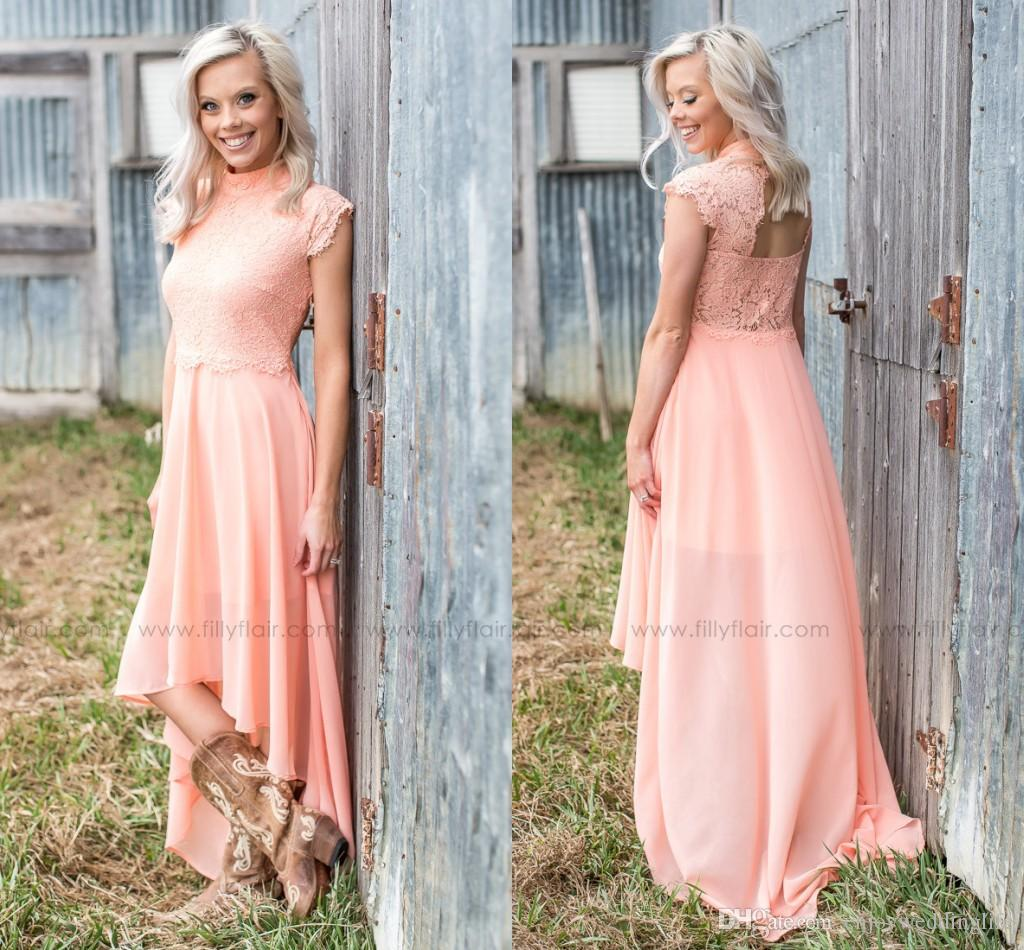 Peach lace bridesmaid dress image collections braidsmaid dress peach country style high low bridesmaid dresses 2017 high neck cap peach country style high low ombrellifo Choice Image