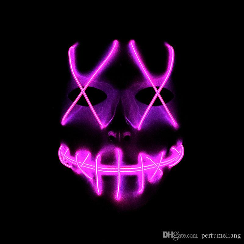 Horror Grimace Bloody EL Wire Led Luminous Mask Halloween Christmas Carnaval Party Club Bar DJ Glowing Full Face Masks ZA3638