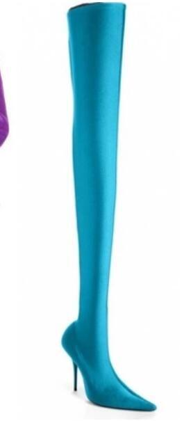 2017 женщины бедро высокие сапоги конфеты цвет шелковый материал пинетки тонкий каблук точка toe высокий Гладиатор пинетки платье обувь над коленом высокие сапоги