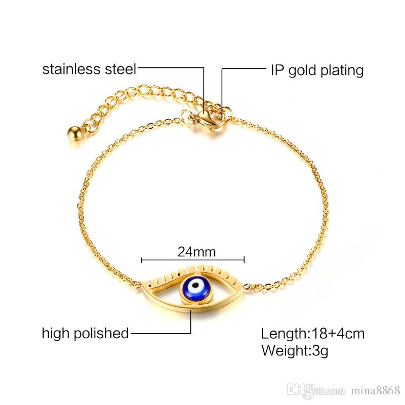 Womens Fashion Link chain Bracelets Gold Plated Stainless Steel Horus Eye Bracelet Bangle jewelry gifts wholesale
