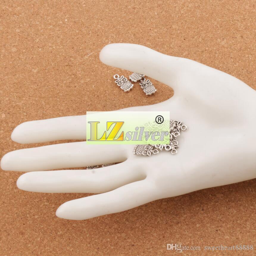 Petit hibou breloques pendentifs 7x15mm / antique bijoux de mode en argent DIY Fit Bracelets Collier Boucles d'oreilles L987