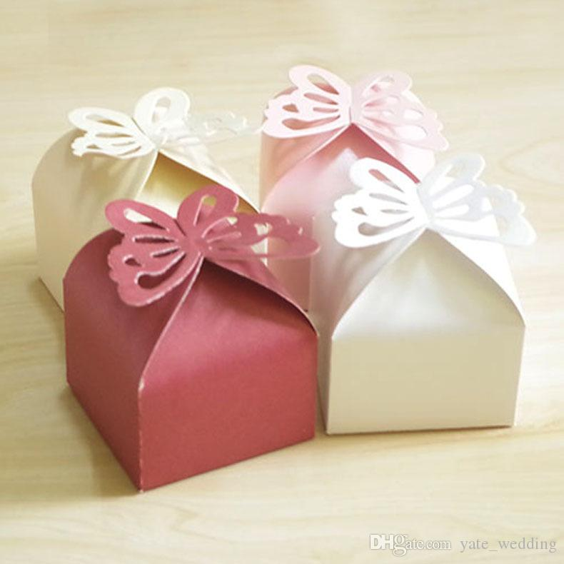 Newest Butterfly Wedding Candy Boxes Square Paper Party Gift Boxes Wedding Favor Boxes Purple Pink White Yellow Red Creamy