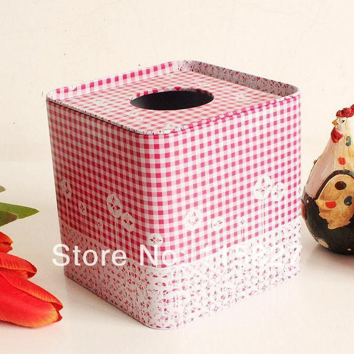 Wholesale- Free Shipping!Pink color Square shape Tissue Box Vintage Metal Facial Paper Case Napkin Holder Noble Style Square Shape