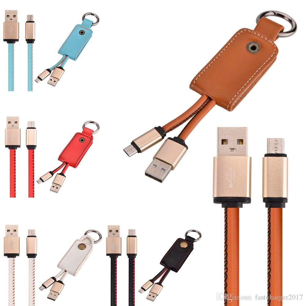 Micro V8 5pin cable key chain leather usb data & charger cable for samsung galaxy s3 s4 s6 s7 for htc