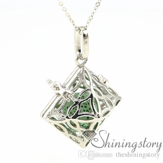 rhombus openwork essential oil jewelry diffuser necklace wholesale jewelry lockets diffuser jewelry wholesale metal volcanic stone necklaces