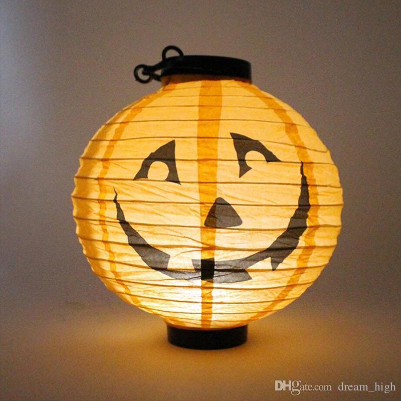 Halloween Décoration LED Papier Citrouille Lumière Suspension Lanterne Lampe Halloween Accessoires En Plein Air Partie Fournitures Prix Usine